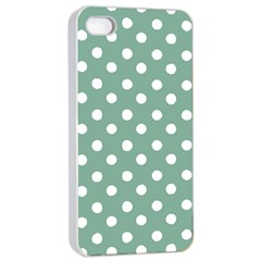 Mint Green Polka Dots Apple Iphone 4/4s Seamless Case (white)