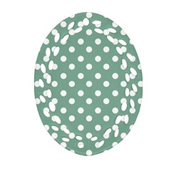Mint Green Polka Dots Oval Filigree Ornament (2-Side)