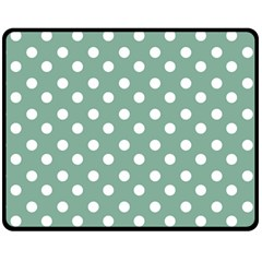 Mint Green Polka Dots Double Sided Fleece Blanket (Medium)