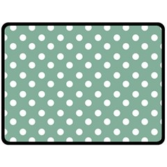 Mint Green Polka Dots Double Sided Fleece Blanket (large)
