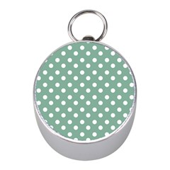 Mint Green Polka Dots Mini Silver Compasses