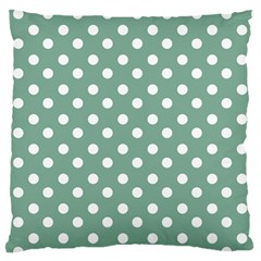 Mint Green Polka Dots Large Flano Cushion Cases (one Side)