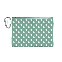 Mint Green Polka Dots Canvas Cosmetic Bag (M)