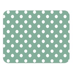 Mint Green Polka Dots Double Sided Flano Blanket (Large)