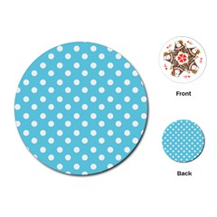 Sky Blue Polka Dots Playing Cards (Round)