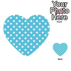 Sky Blue Polka Dots Multi-purpose Cards (Heart)