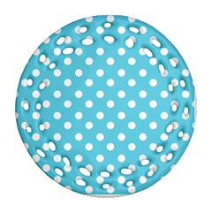 Sky Blue Polka Dots Round Filigree Ornament (2Side)