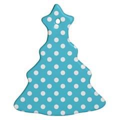 Sky Blue Polka Dots Christmas Tree Ornament (2 Sides)