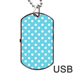 Sky Blue Polka Dots Dog Tag Usb Flash (two Sides)