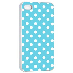Sky Blue Polka Dots Apple iPhone 4/4s Seamless Case (White)