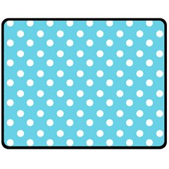 Sky Blue Polka Dots Double Sided Fleece Blanket (Medium)