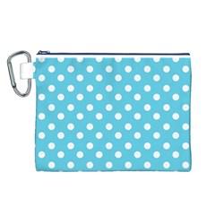 Sky Blue Polka Dots Canvas Cosmetic Bag (l)