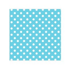 Sky Blue Polka Dots Small Satin Scarf (square)