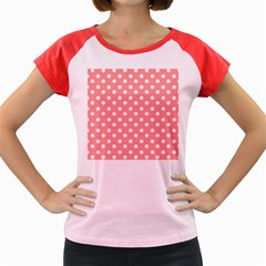 Coral And White Polka Dots Women s Cap Sleeve T-Shirt