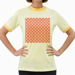 Coral And White Polka Dots Women s Fitted Ringer T-Shirts