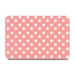 Coral And White Polka Dots Plate Mats