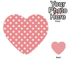 Coral And White Polka Dots Multi-purpose Cards (Heart)