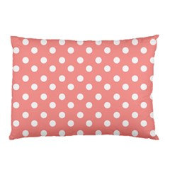 Coral And White Polka Dots Pillow Cases