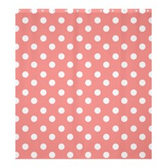 Coral And White Polka Dots Shower Curtain 66  X 72  (large)