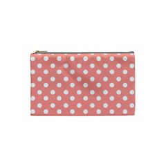 Coral And White Polka Dots Cosmetic Bag (small)