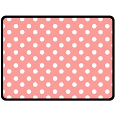 Coral And White Polka Dots Fleece Blanket (Large)