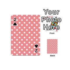 Coral And White Polka Dots Playing Cards 54 (Mini)
