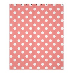 Coral And White Polka Dots Shower Curtain 60  X 72  (medium)