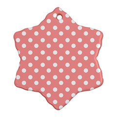 Coral And White Polka Dots Snowflake Ornament (2 Side)