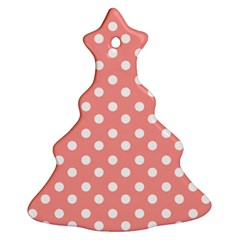 Coral And White Polka Dots Christmas Tree Ornament (2 Sides)