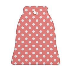 Coral And White Polka Dots Bell Ornament (2 Sides)