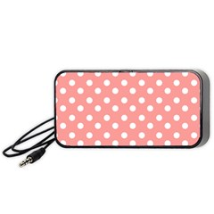 Coral And White Polka Dots Portable Speaker (Black)