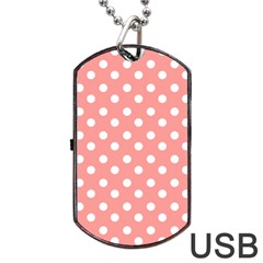 Coral And White Polka Dots Dog Tag Usb Flash (one Side)