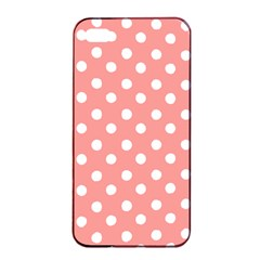 Coral And White Polka Dots Apple iPhone 4/4s Seamless Case (Black)
