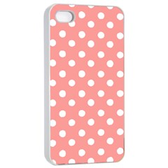 Coral And White Polka Dots Apple Iphone 4/4s Seamless Case (white)