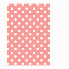 Coral And White Polka Dots Small Garden Flag (Two Sides)