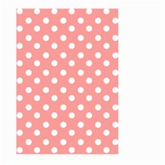 Coral And White Polka Dots Large Garden Flag (Two Sides)