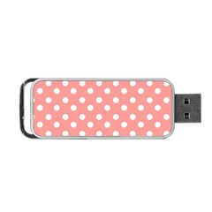 Coral And White Polka Dots Portable USB Flash (Two Sides)