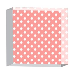 Coral And White Polka Dots 5  x 5  Acrylic Photo Blocks