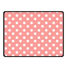 Coral And White Polka Dots Double Sided Fleece Blanket (Small)