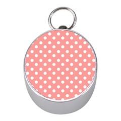Coral And White Polka Dots Mini Silver Compasses