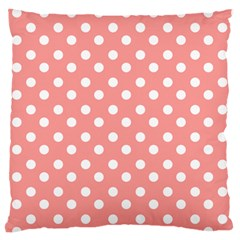 Coral And White Polka Dots Large Flano Cushion Cases (Two Sides)