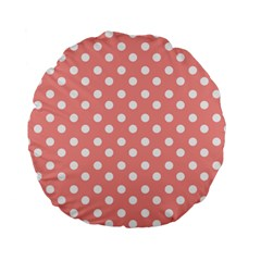 Coral And White Polka Dots Standard 15  Premium Flano Round Cushions