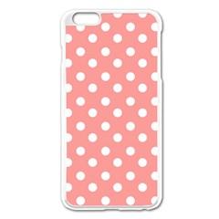 Coral And White Polka Dots Apple Iphone 6 Plus Enamel White Case