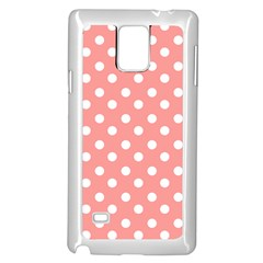 Coral And White Polka Dots Samsung Galaxy Note 4 Case (White)