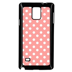Coral And White Polka Dots Samsung Galaxy Note 4 Case (black)