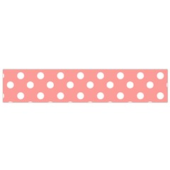 Coral And White Polka Dots Flano Scarf (Small)