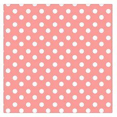 Coral And White Polka Dots Large Satin Scarf (Square)