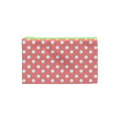 Coral And White Polka Dots Cosmetic Bag (XS)