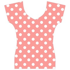 Coral And White Polka Dots Women s V-Neck Cap Sleeve Top
