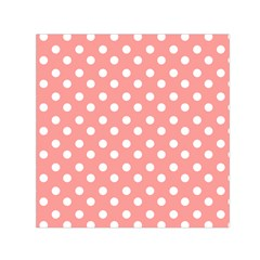Coral And White Polka Dots Small Satin Scarf (Square)